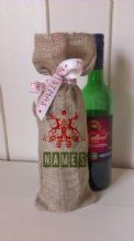 Personalized Two reindeers Wine Father Christmas Xmas Santa Sack / Stocking Bag Jute Hessian